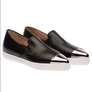 Miu Miu Metallic Cap Toe Napa Leather Slip-on Sneakers